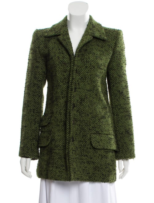 Yves Saint Laurent Wool Bouclé Coat Green