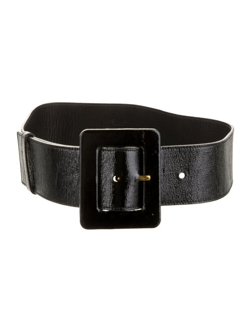 Yves Saint Laurent Patent Leather Waist Belt Black