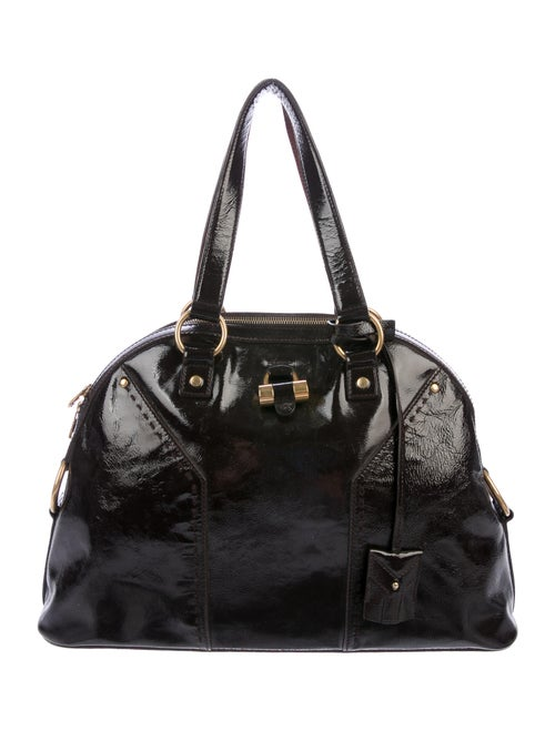Yves Saint Laurent Patent Leather Muse Bag Brown