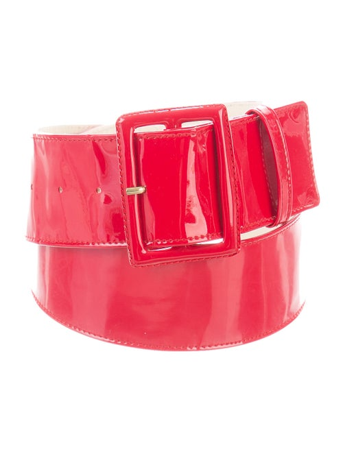 Yves Saint Laurent Patent Leather Waist Belt Red