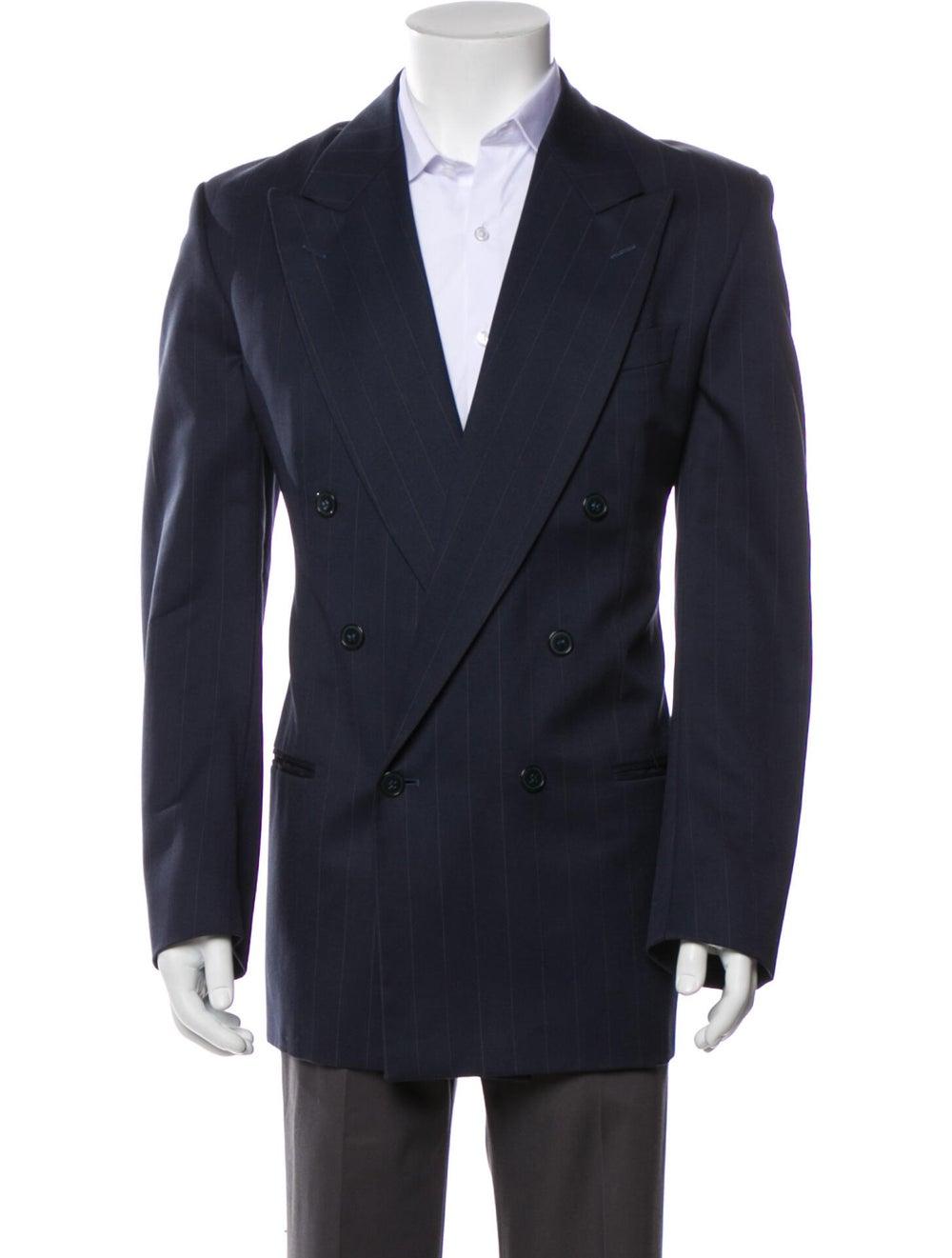 Yves Saint Laurent Vintage Wool Blazer Blue - image 1