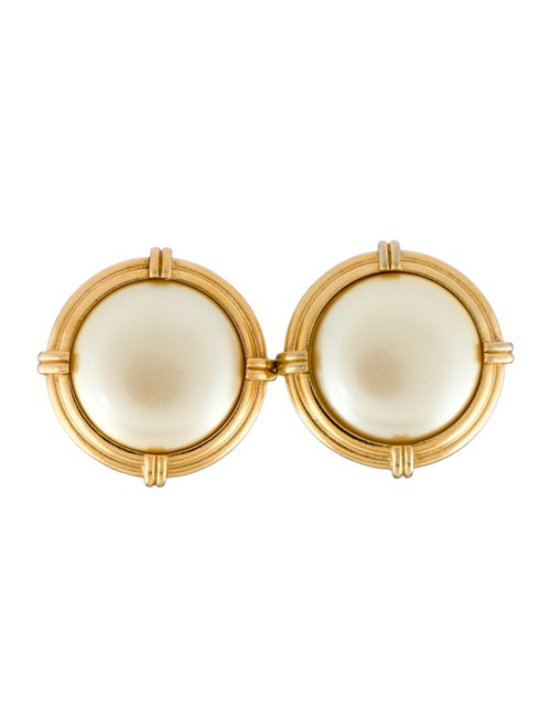 Yves Saint Laurent Faux Pearl Earclips Gold - image 1