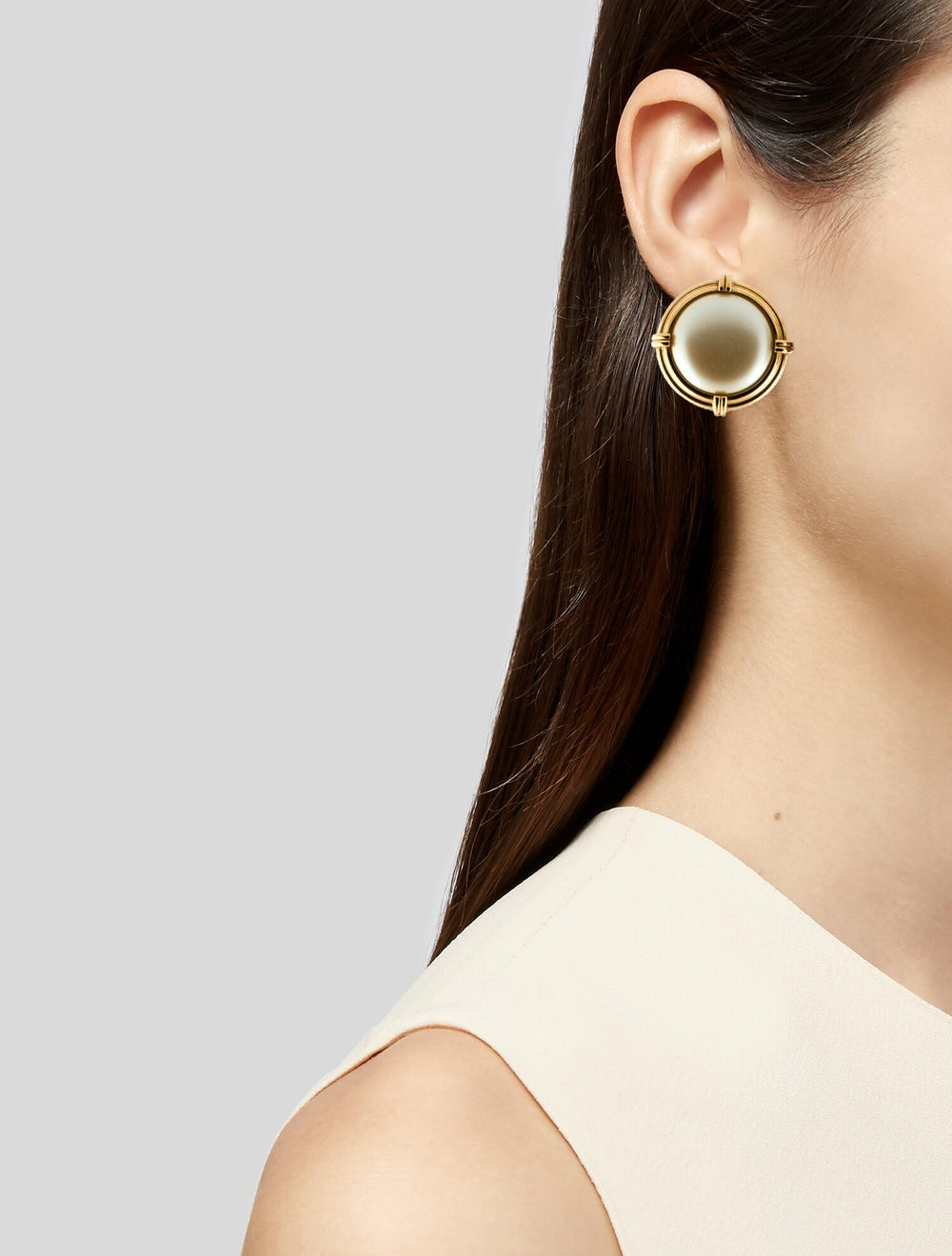 Yves Saint Laurent Faux Pearl Earclips Gold - image 2