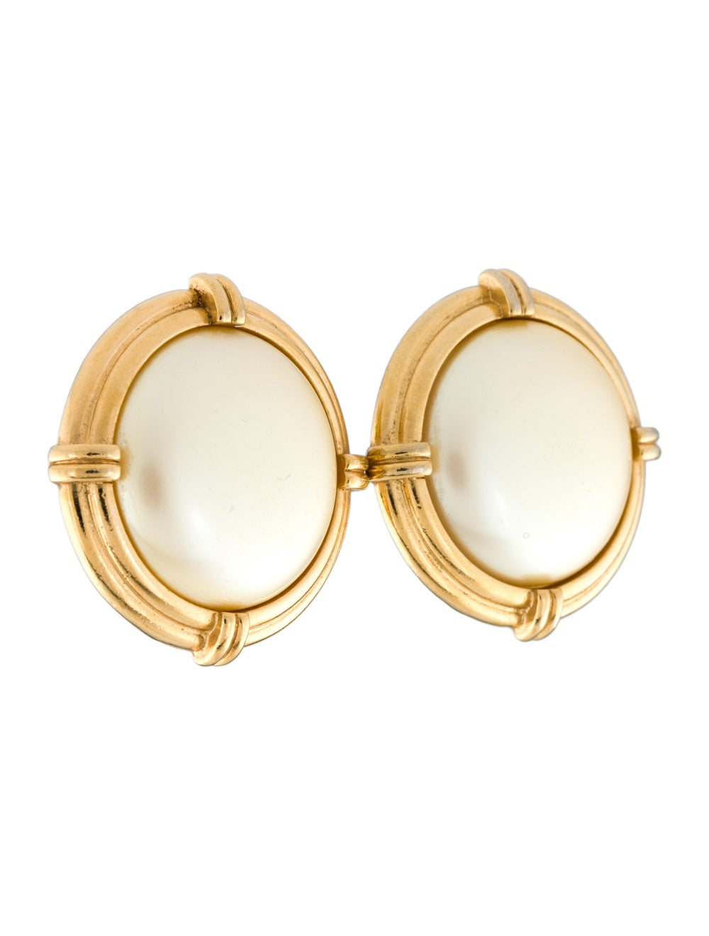 Yves Saint Laurent Faux Pearl Earclips Gold - image 3