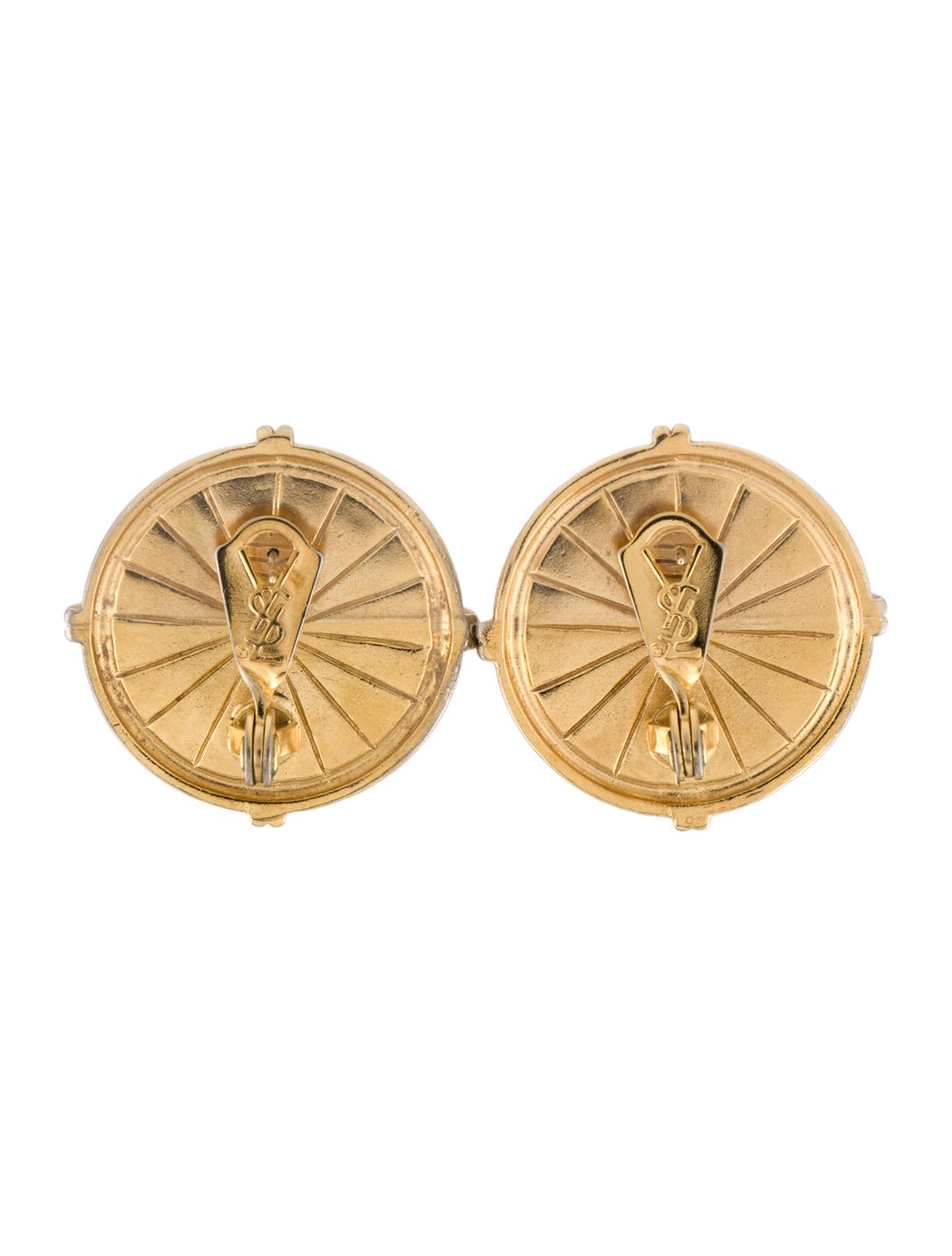 Yves Saint Laurent Faux Pearl Earclips Gold - image 4