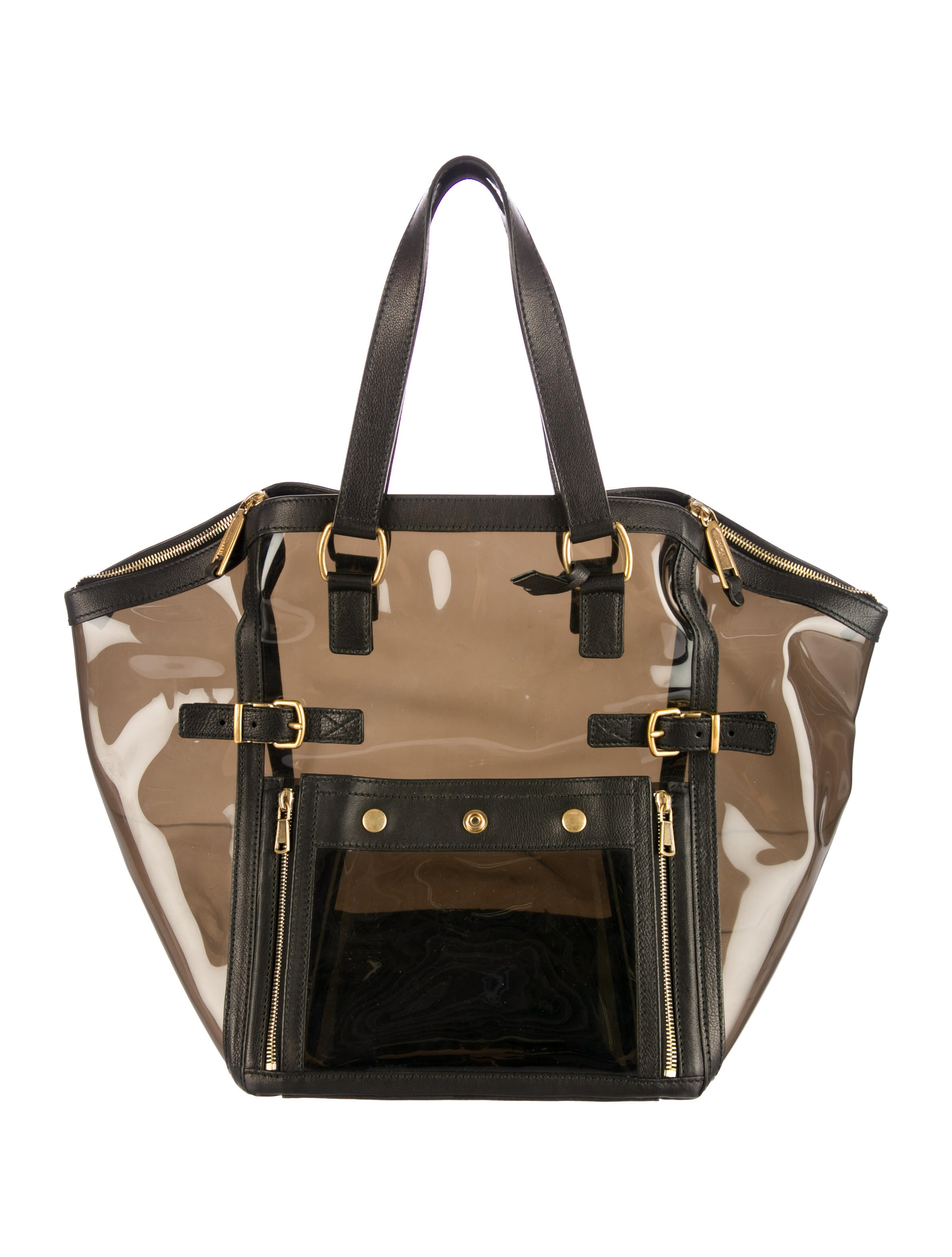 yves saint laurent pvc downtown tote handbags yve40926 the realreal. Black Bedroom Furniture Sets. Home Design Ideas