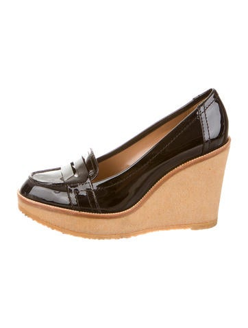 yves laurent patent leather loafer wedges shoes