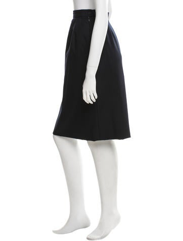 yves laurent wool midi pencil skirt clothing