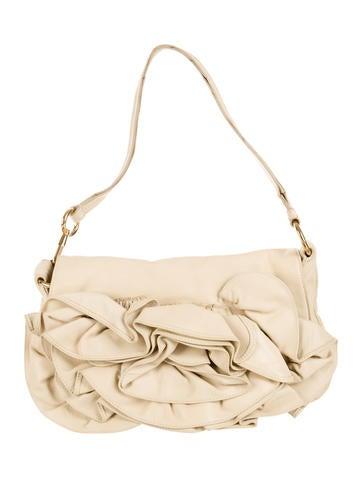Leather Ruffled Shoulder Bag