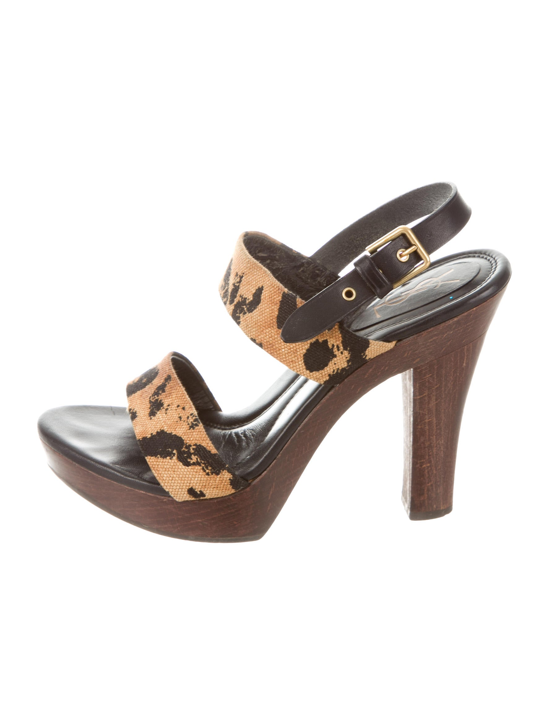 yves laurent leopard print platform sandals shoes