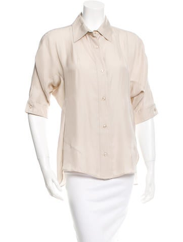 Yves Saint Laurent Collared Button-Up Top None