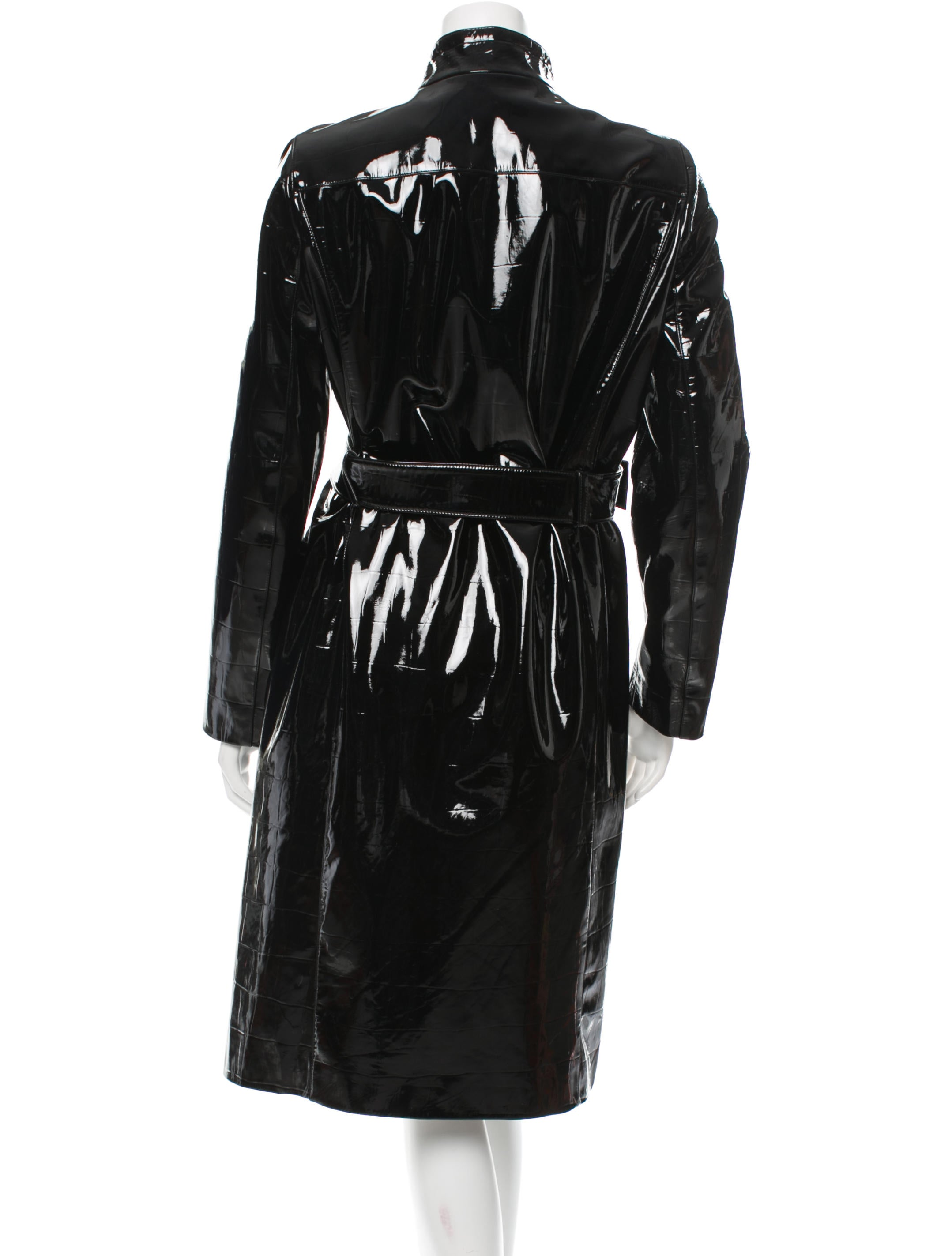 Yves Saint Laurent Patent Leather Trench Coat Clothing