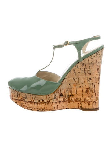 Yves Saint Laurent T-Strap Platform Wedges None