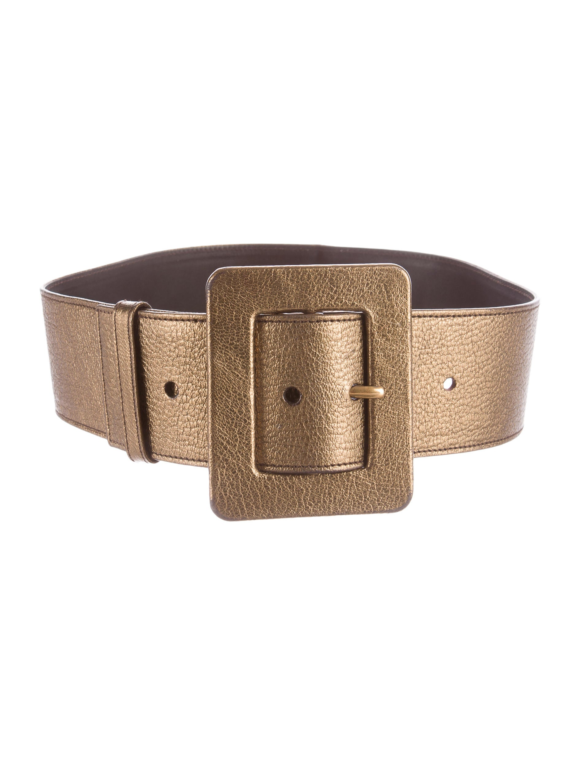 yves laurent metallic wide leather belt
