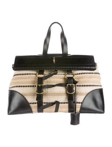 Leather-Trimmed Raffia Tote