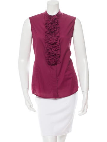 Yves Saint Laurent Ruffled Button-Up Top None