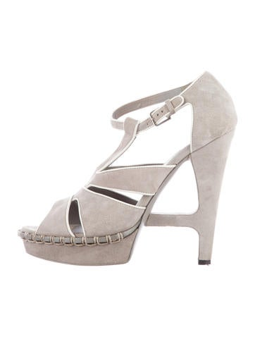 Yves Saint Laurent Architectural Suede Sandals None