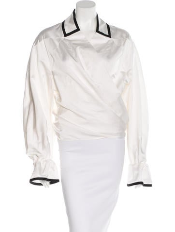 Yves Saint Laurent Ruffle-Trimmed Long Sleeve Top None