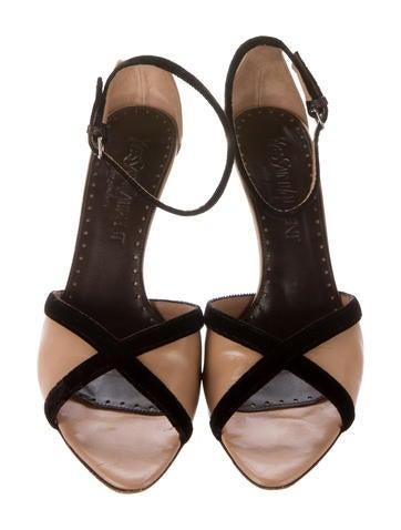 Velvet & Leather Ankle Strap Sandals