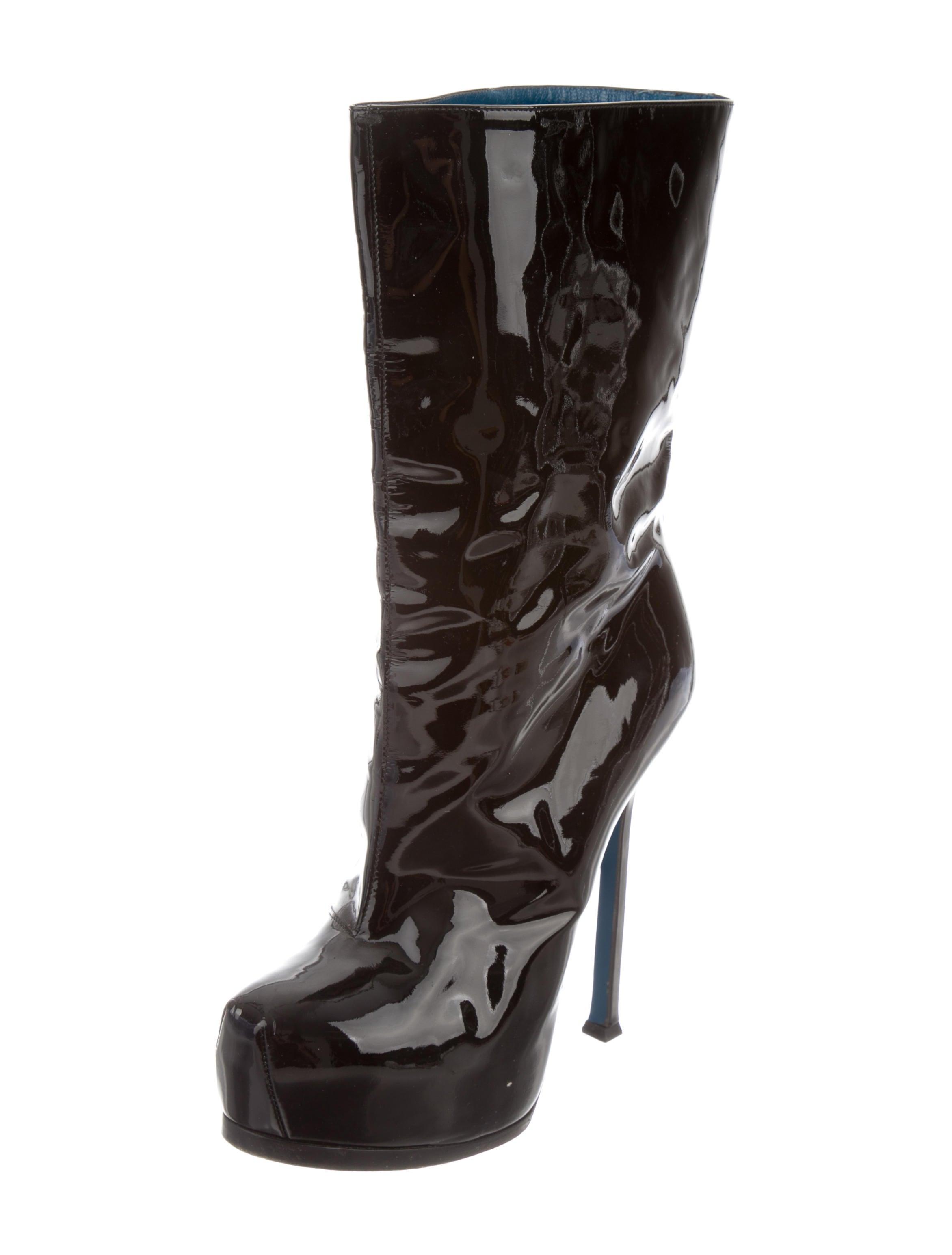 yves laurent patent leather platform boots shoes