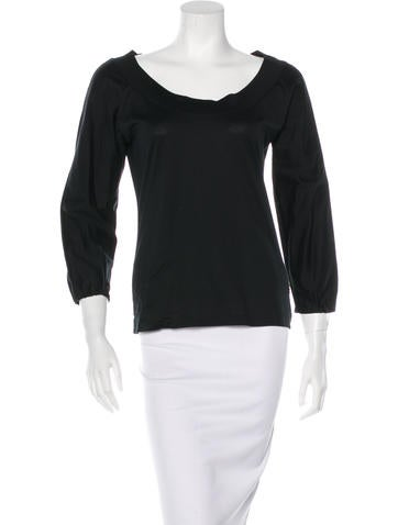 Yves Saint Laurent Long Sleeve Bateau-Neck Top None