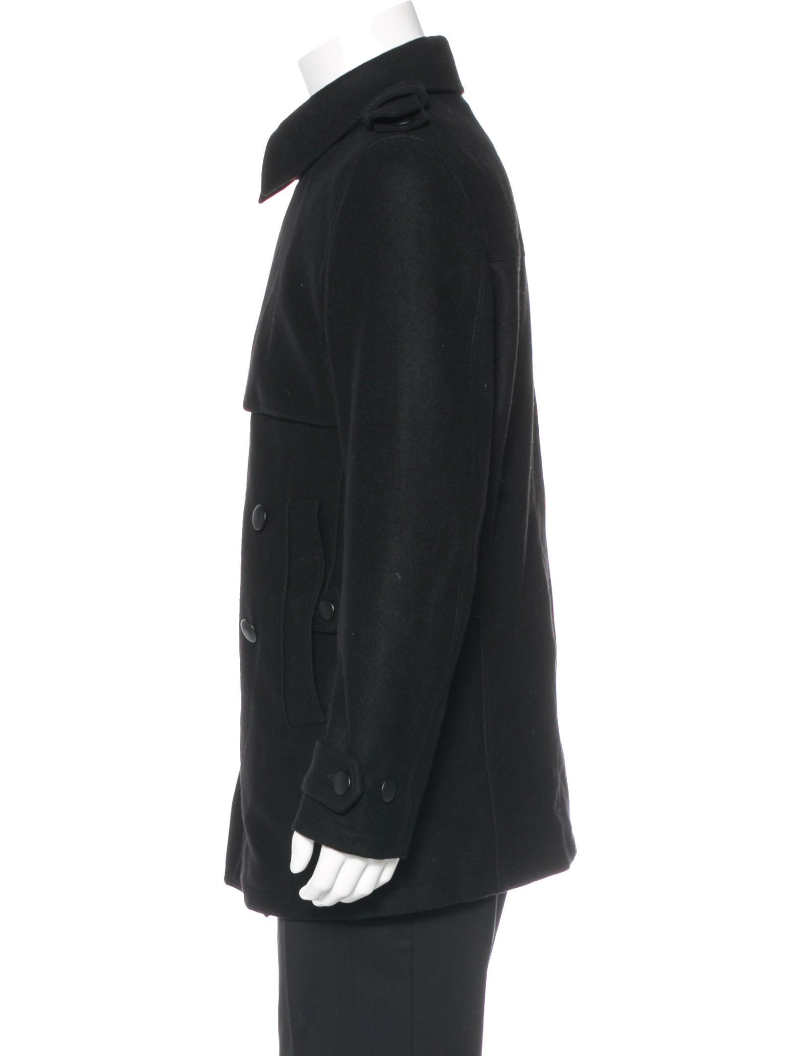 Yves saint laurent logo wool peacoat clothing yve50814 for Yves saint laurent logo shirt