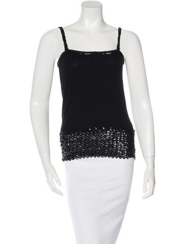 Yves Saint Laurent Wool Sequined Top None