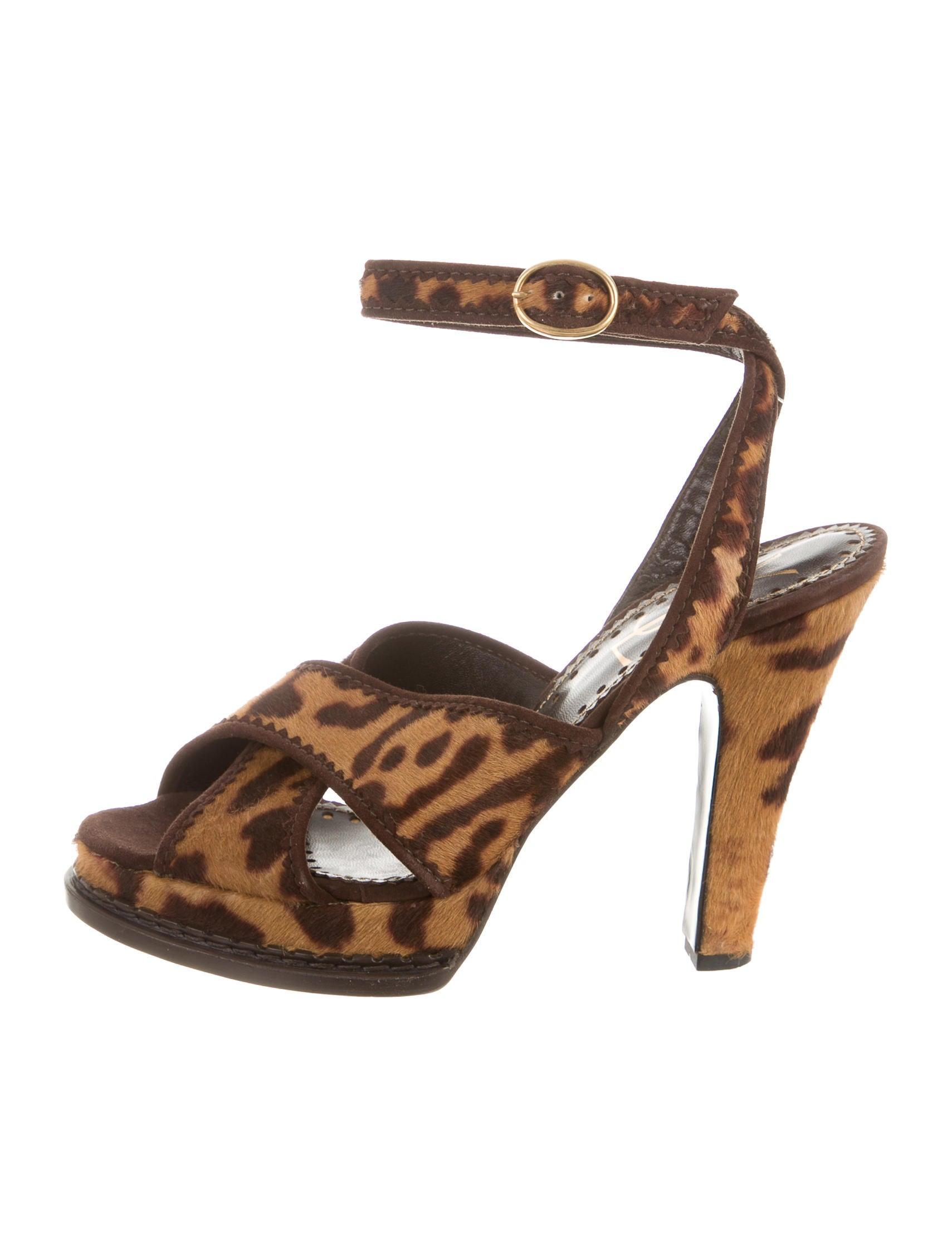 Yves Saint Laurent Ponyhair Crossover Sandals sale largest supplier DS0MBCQu