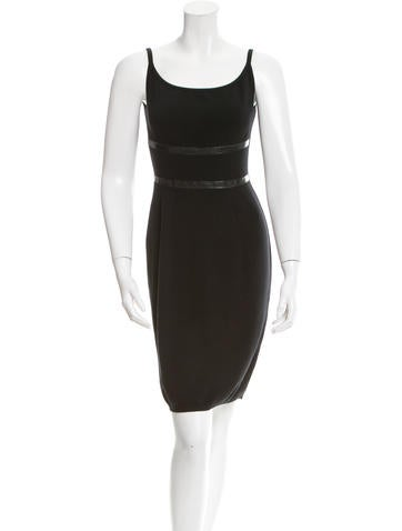Yves Saint Laurent Leather-Trimmed Sweater Dress None