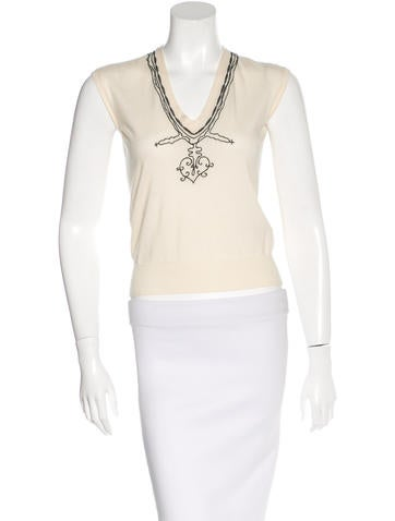 Yves Saint Laurent Wool Embroidered Top None