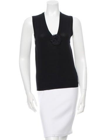 Yves Saint Laurent Wool Floral-Applique Top None