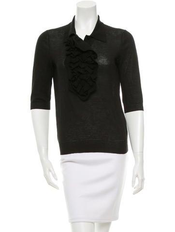 Yves Saint Laurent Wool Three-Quarter Sleeve Top None
