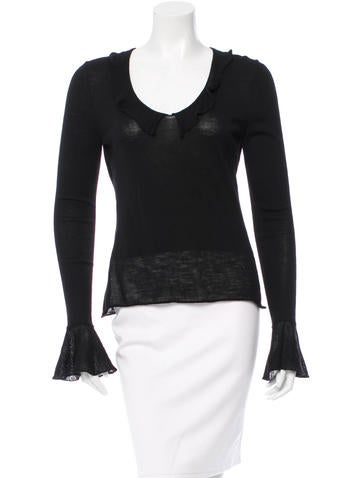 Yves Saint Laurent Wool Ruffle-Trimmed Top None
