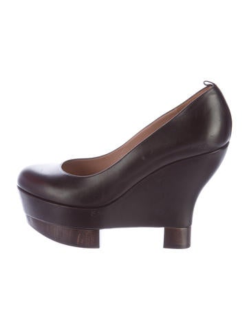 Yves Saint Laurent Leather Platform Wedges None
