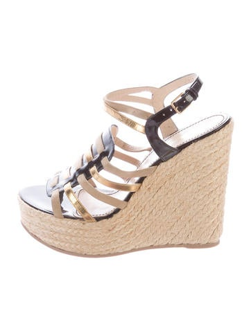Yves Saint Laurent Patent Leather Espadrille Wedge Sandals None