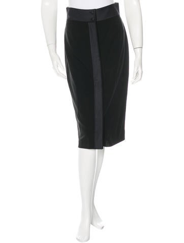 Yves Saint Laurent Wool Button-Up Skirt None