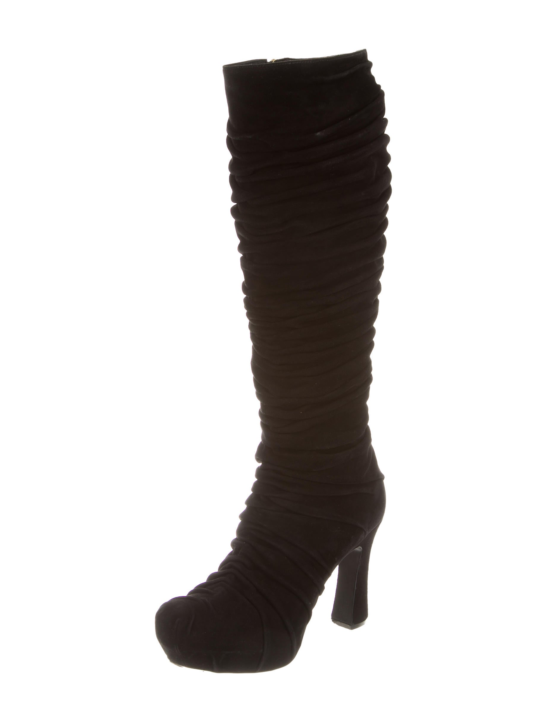 yves laurent suede ruched knee high boots shoes
