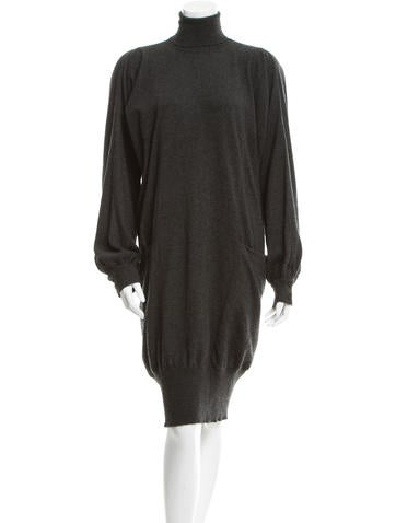 Yves Saint Laurent Cashmere Turtleneck Dress None