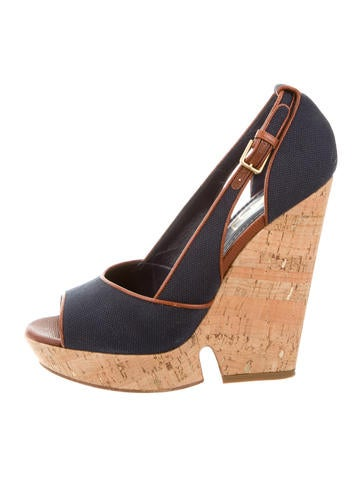 Yves Saint Laurent Peep-Toe Platform Wedges None