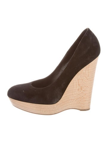 Yves Saint Laurent Suede Round-Toe Wedges None