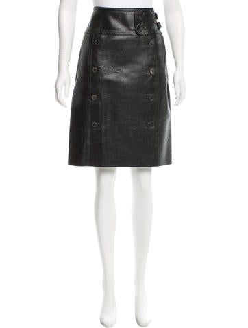 Yves Saint Laurent Cracked Leather Pencil Skirt