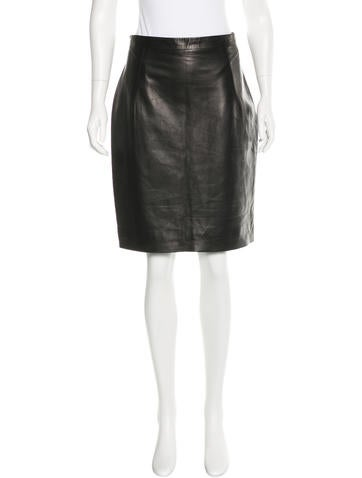 Yves Saint Laurent Leather Knee-Length Skirt