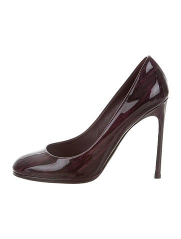 Yves Saint Laurent Patent Leather Round-Toe Pumps