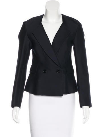 Yves Saint Laurent Wool & Silk-Blend Double-Breasted Blazer w/ Tags
