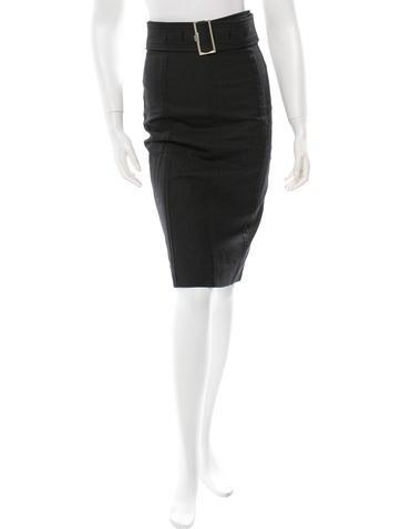 Yves Saint Laurent Wool Pencil Skirt None