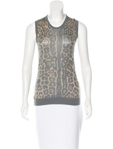 Yves Saint Laurent Leopard-Patterned Cashmere Sweater None