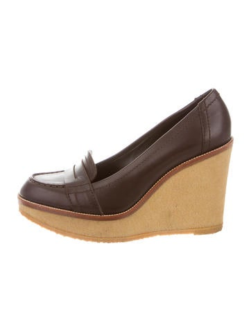 Yves Saint Laurent Platform Leather Wedges None