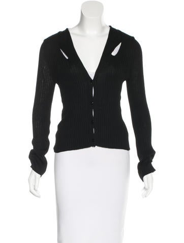 Yves Saint Laurent Rib Knit Button-Up Cardigan None
