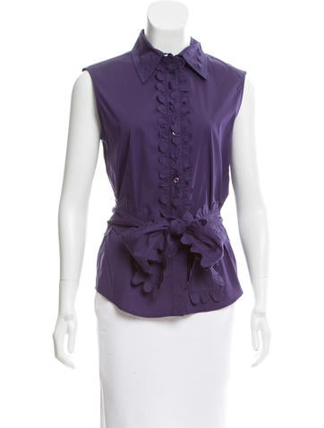 Yves Saint Laurent Belt-Accented Button-Up Top None
