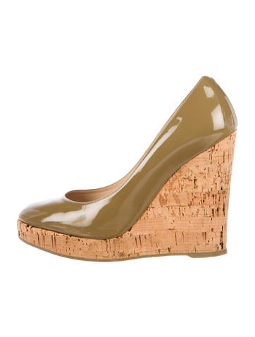 Yves Saint Laurent Patent Leather Round-Toe Wedges None